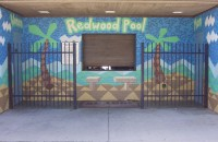 Closer view of Redwood pool entrance